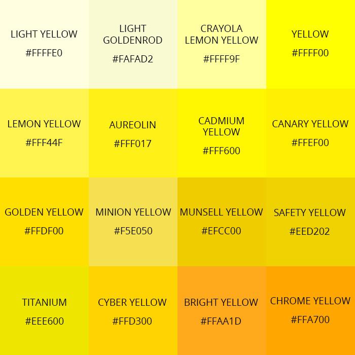 Shades of yellow