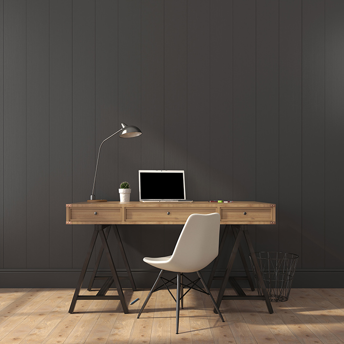 Black wall in home office