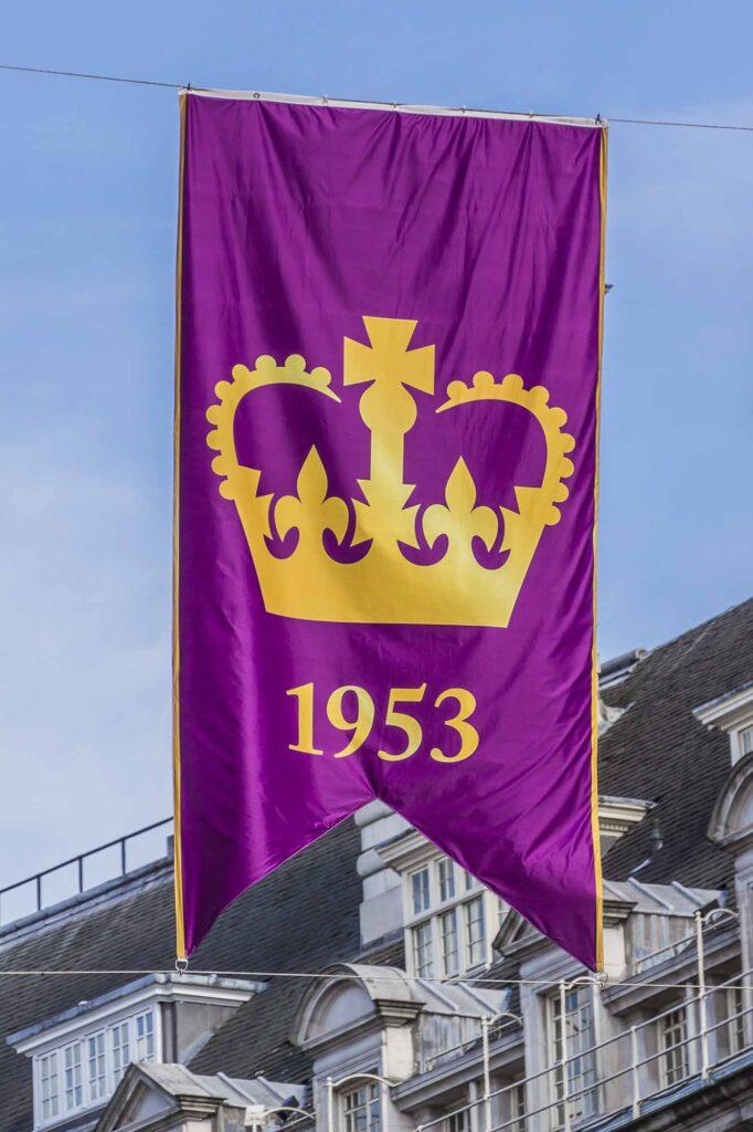 Purple flag celebrating 60 Anniversary of Coronation of Queen Elizabeth II in London