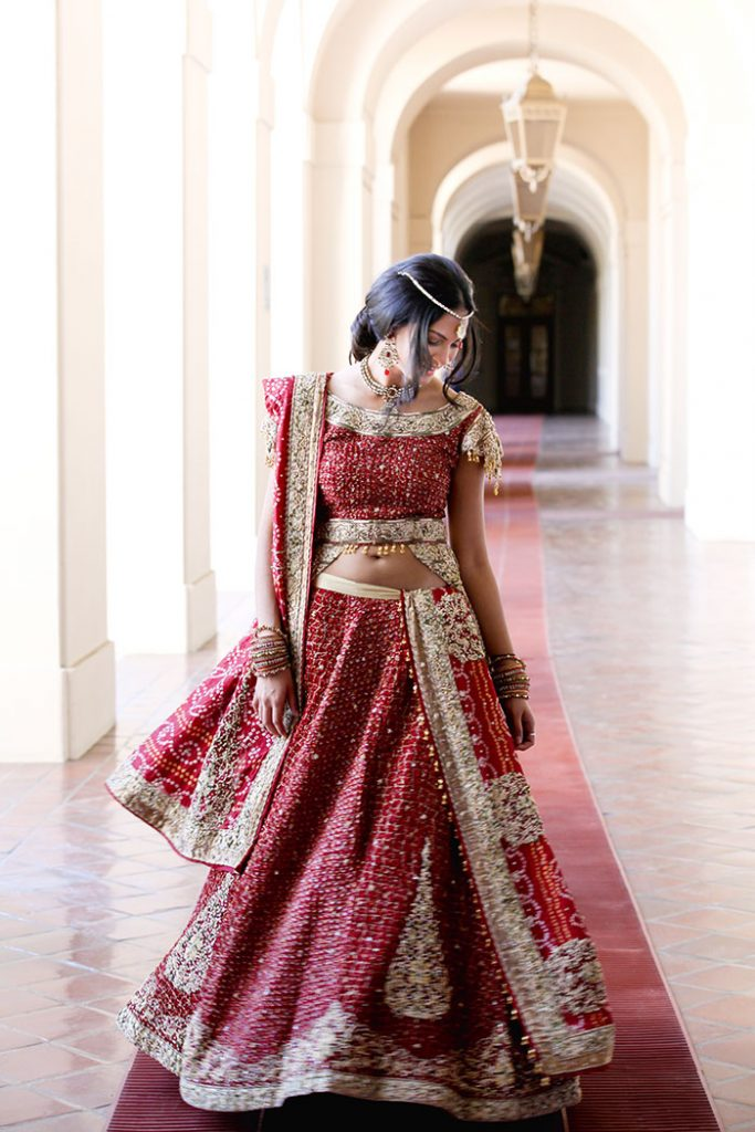 Indian bride wearing red