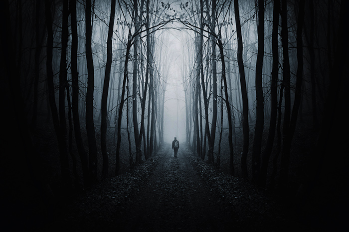 Man walking on a path in a black forest surrounded by darkness