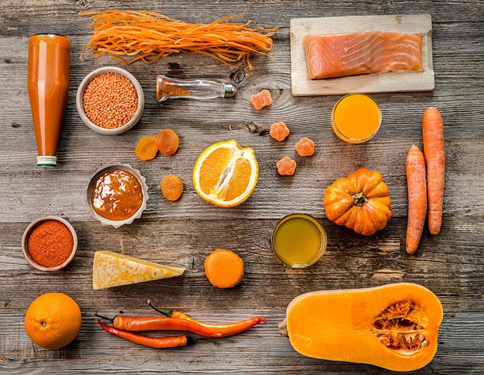 Orange ingredients, fruits, vegetables