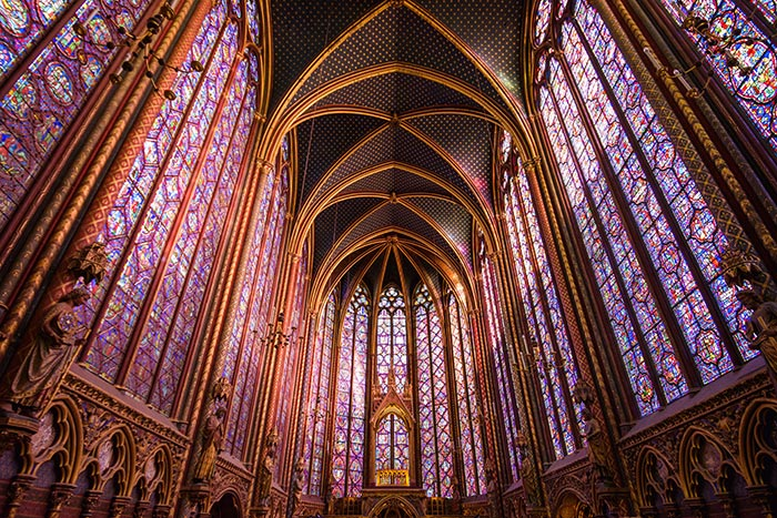 Purple stained glass window in chapel