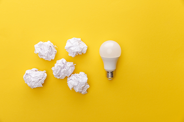 Yellow means creativity, light bulb