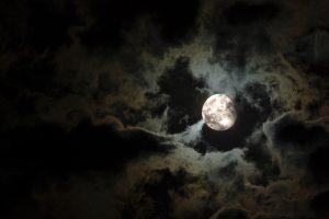 Moon on black sky