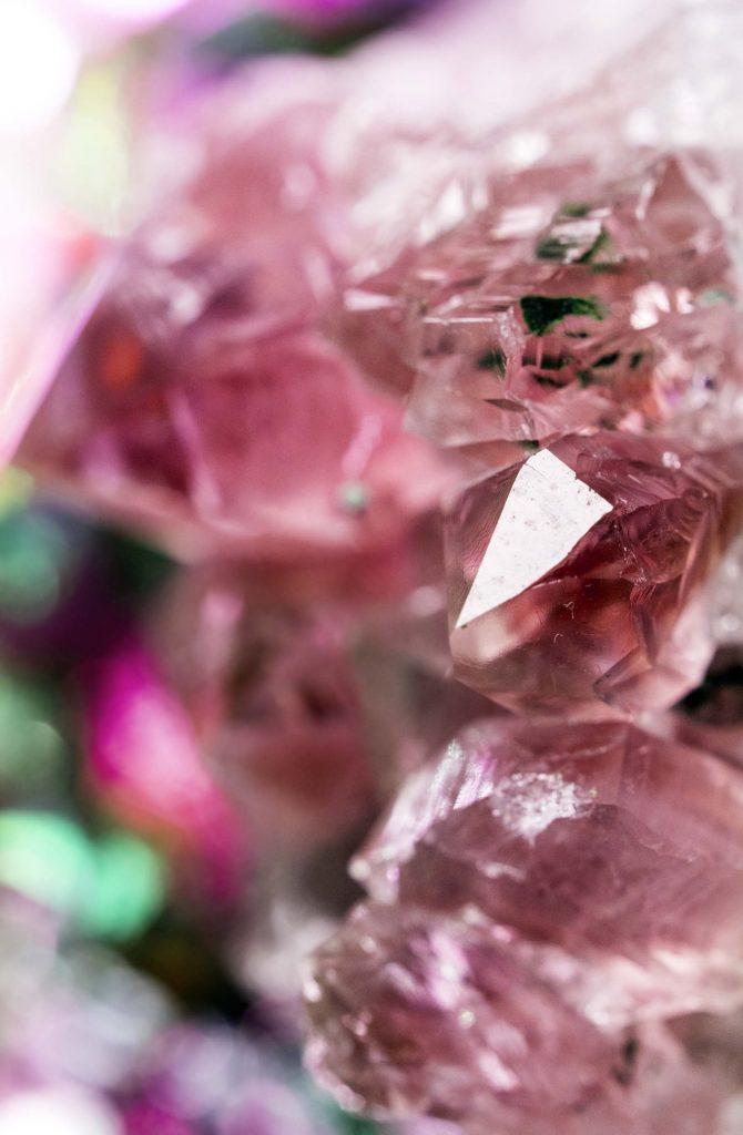 Pink fluorite gemstone