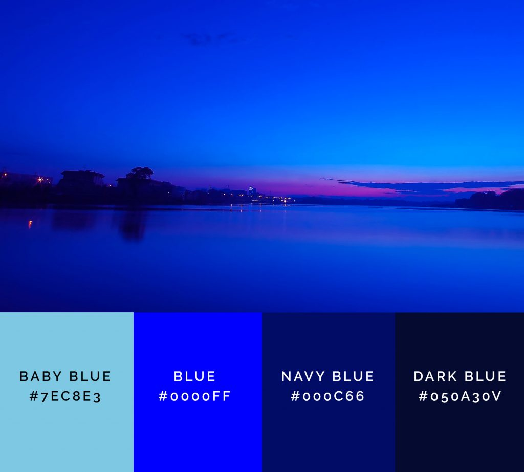 Mysterious horizon is a bold blue palette