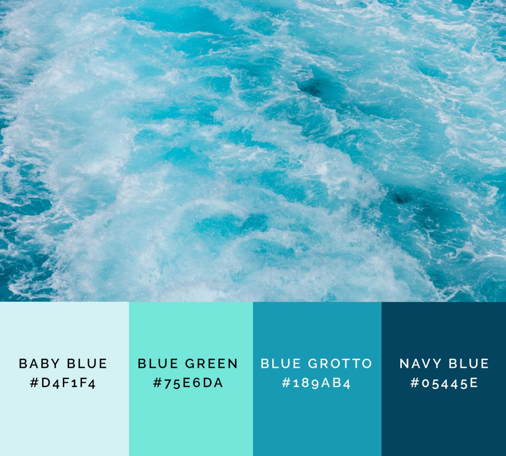 Summer vibes palette has brighter shades of blue