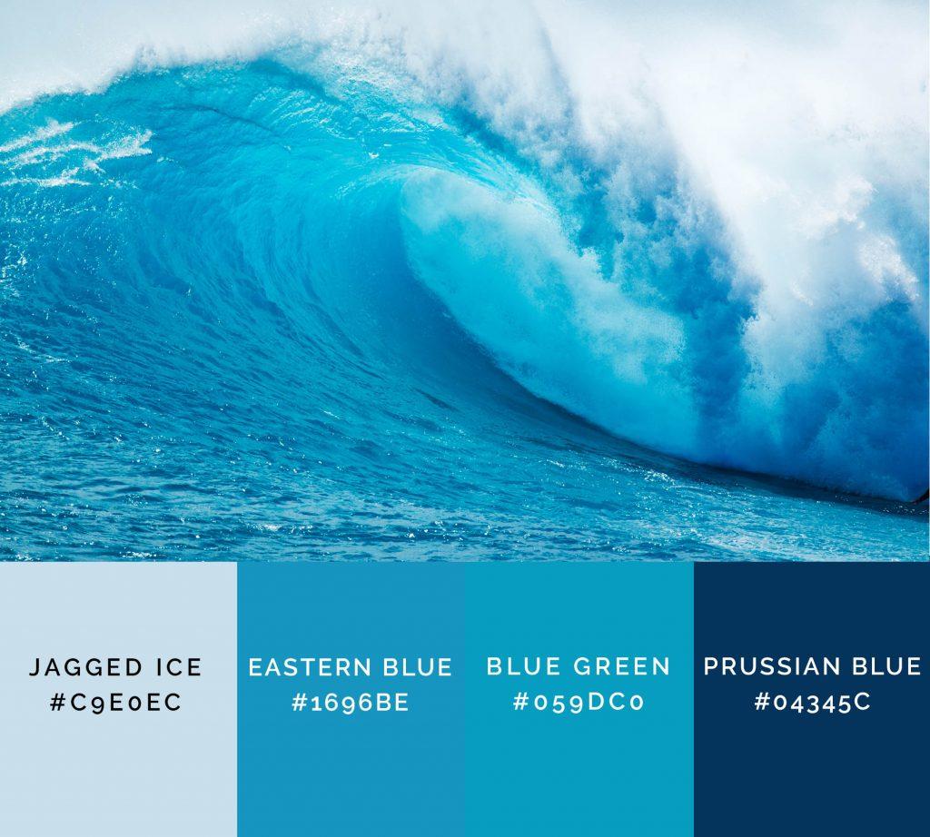 Surf time palette has interesting blue color names