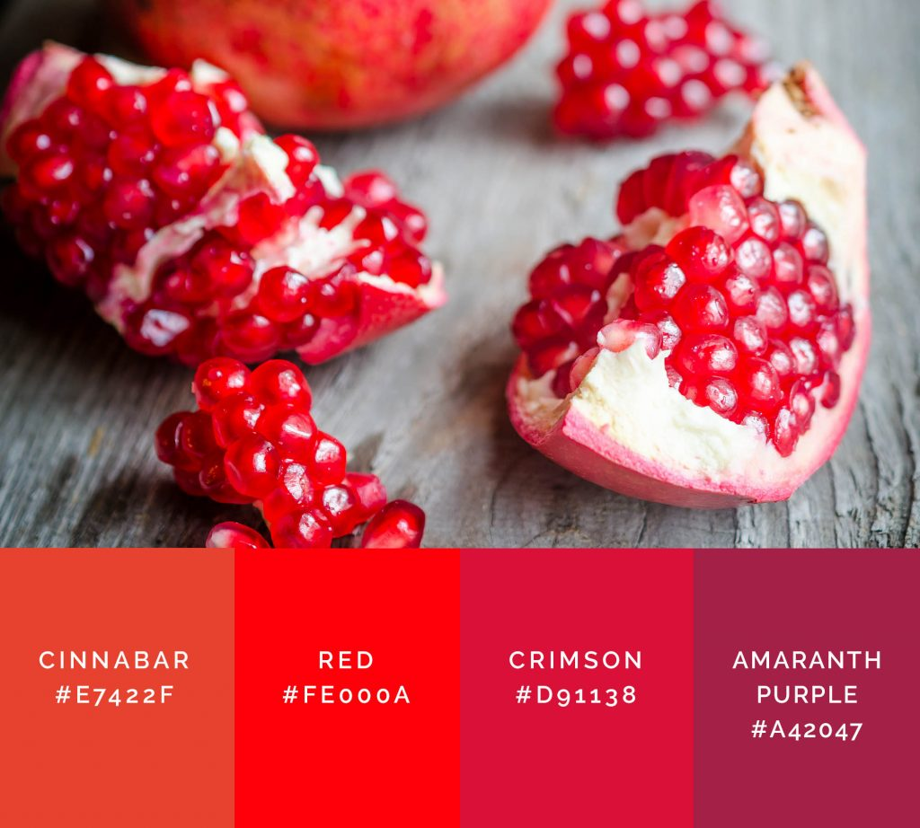 Pomegranate palette has shades of red color