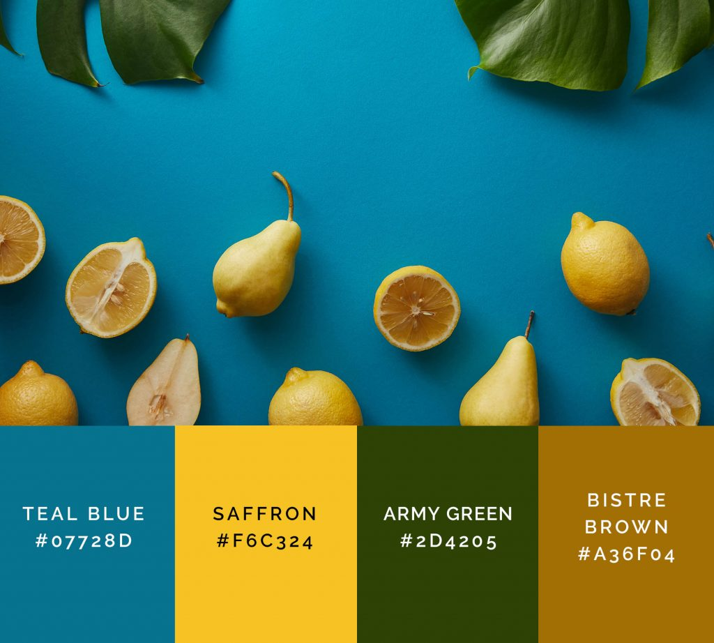 Fruits palette has shades of yellow color