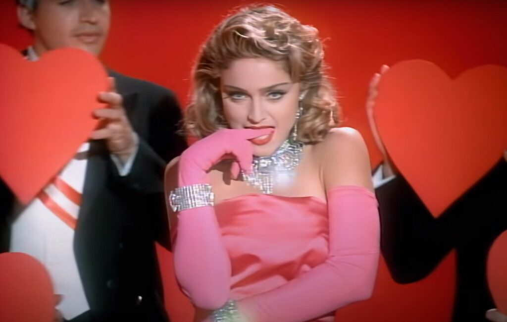 Madonna wearing pink dress in videoclip of Material Girl