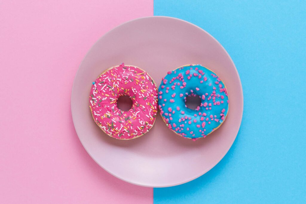Pink and blue doughnuts