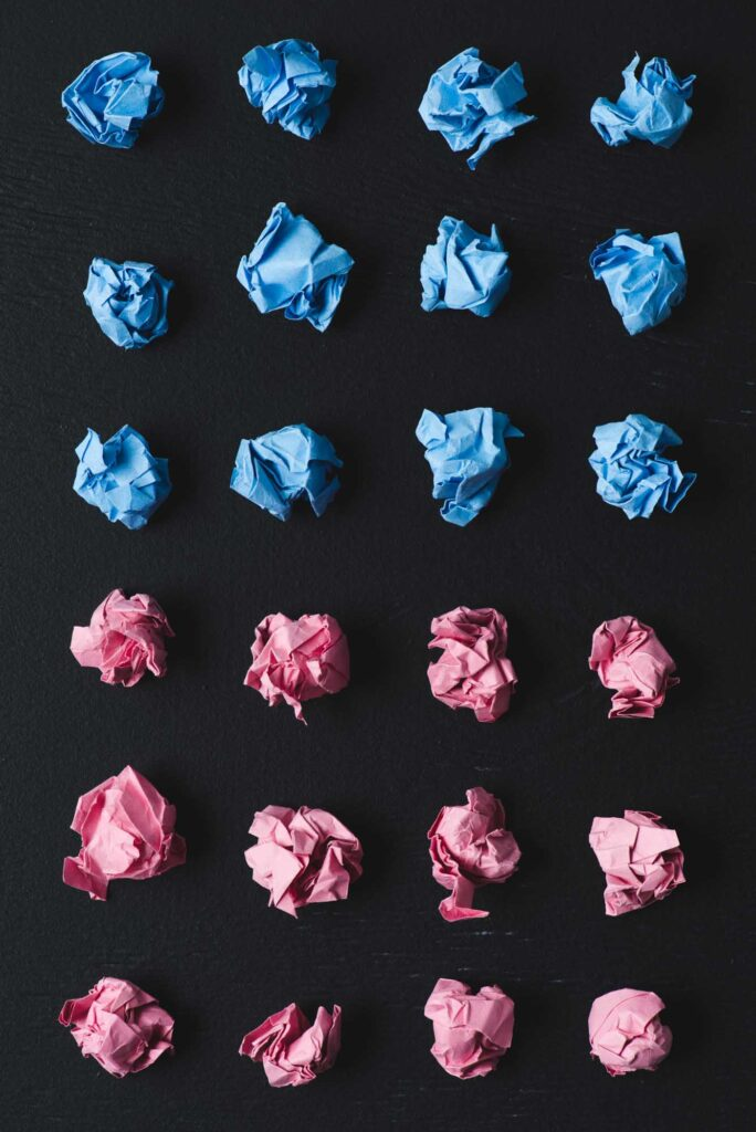 Pink and blue paper balls