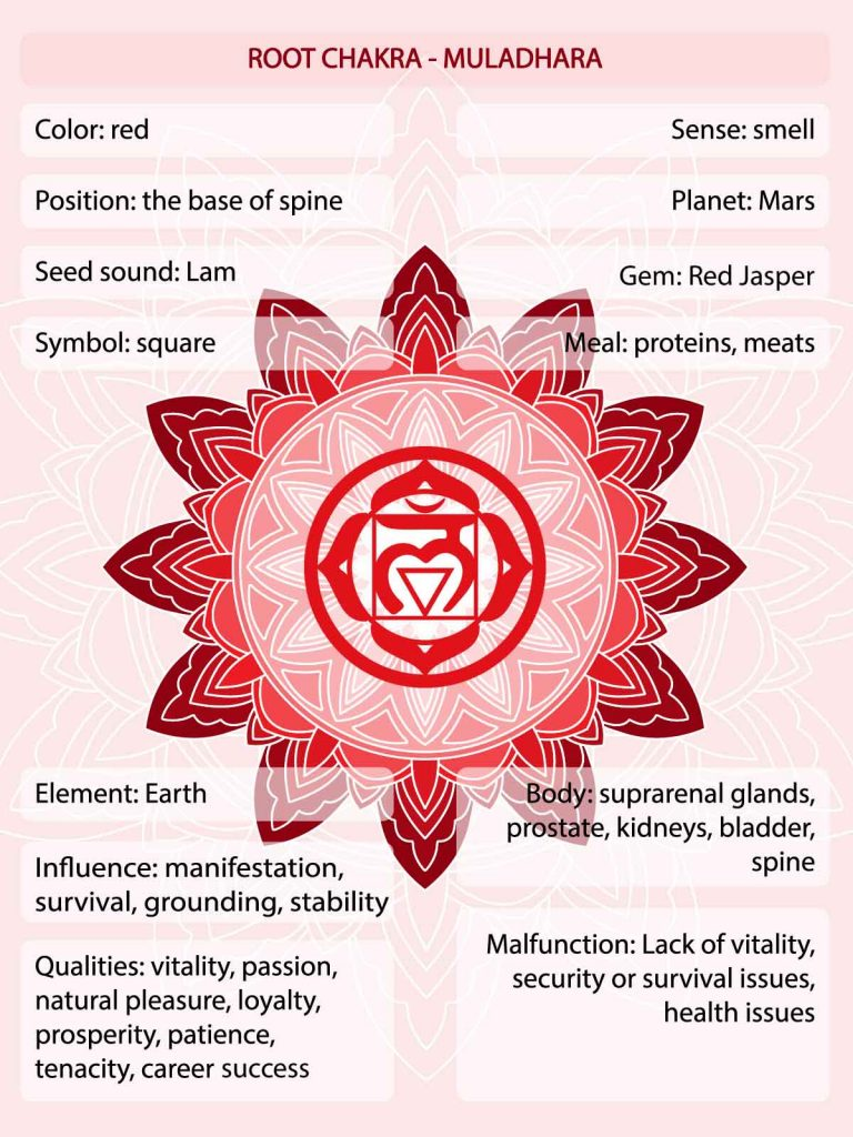 Red chakra meaning infographic