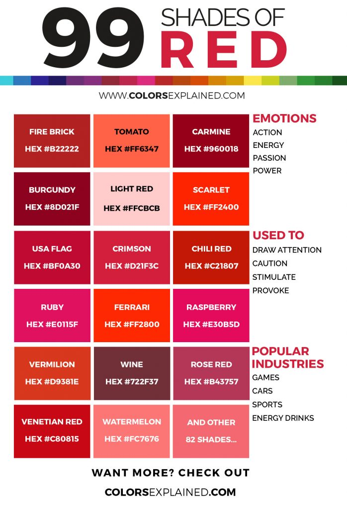 Shades of red color infographic