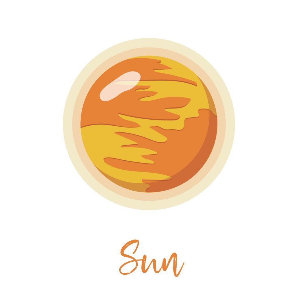 Sun, the yellow and orange star