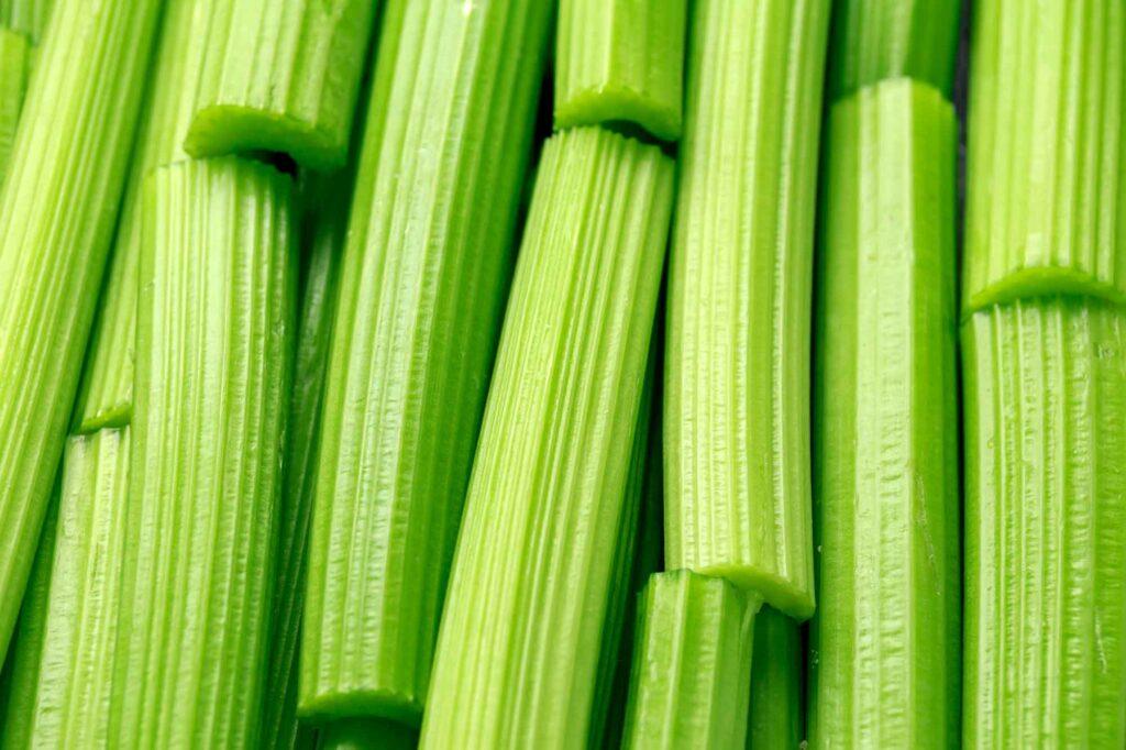 Green celery sticks