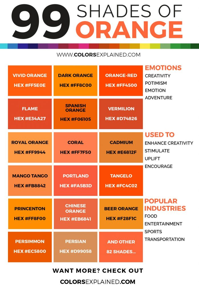 Shades of orange color infographic