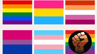 Collage of some Pride flags color meanings