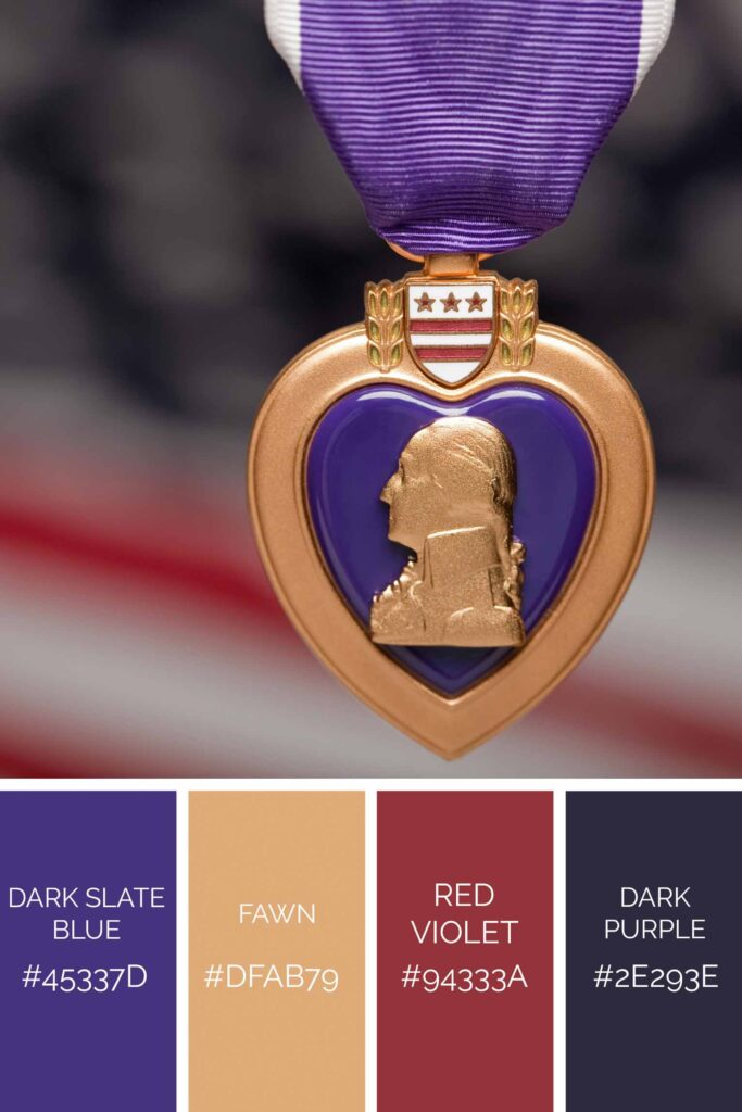 Heart medal palette has beautiful shades of purple color