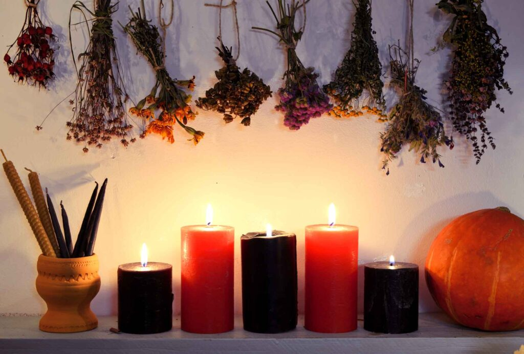 Black and red candles