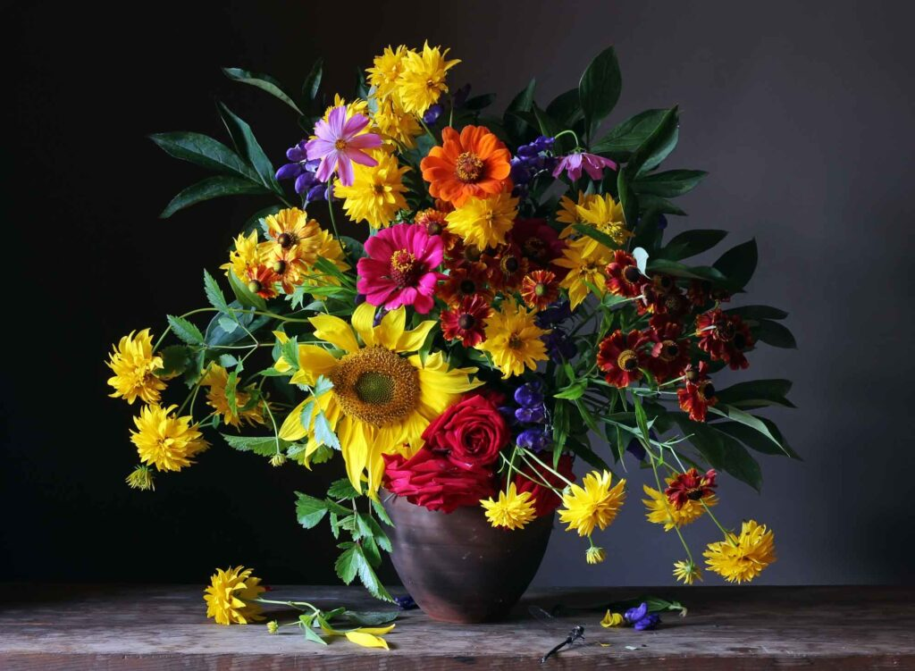 Colorful bouquet of different flowers