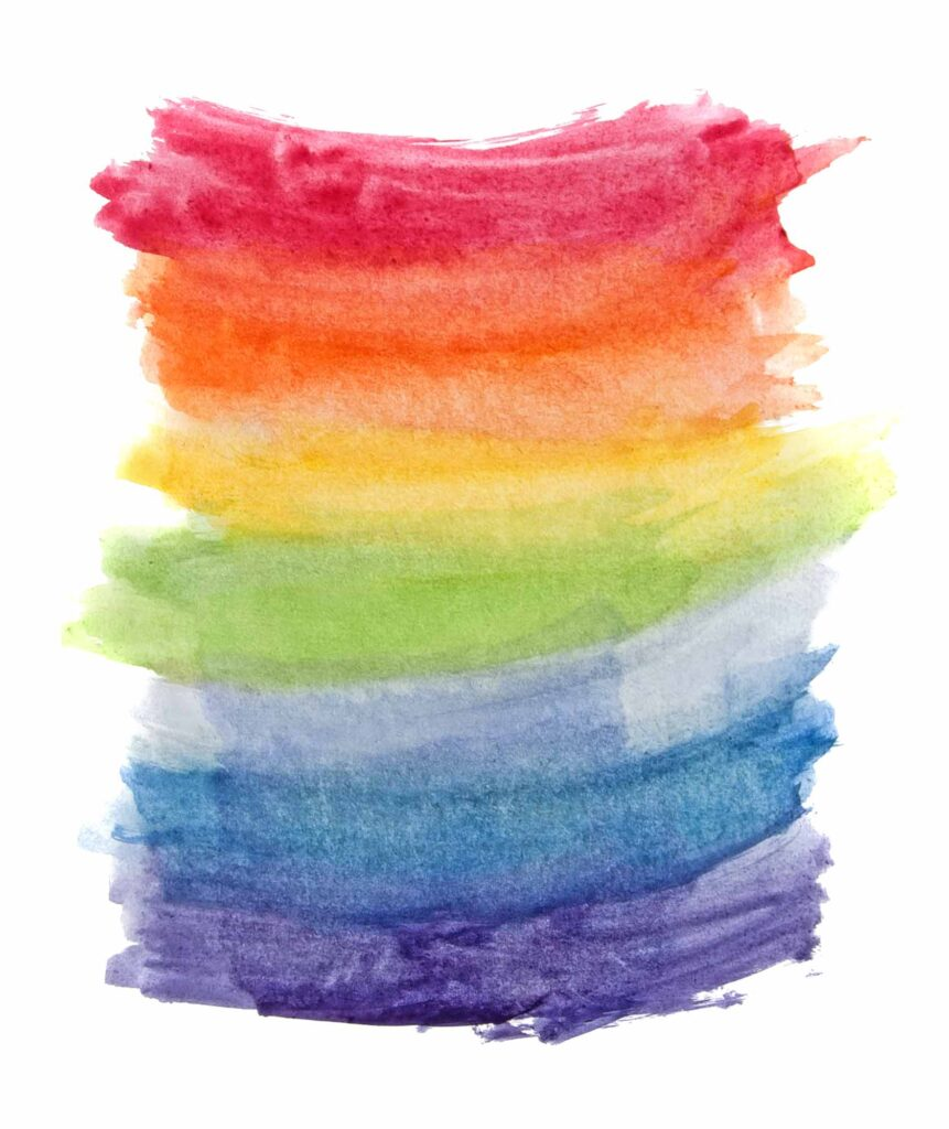 Watercolor rainbow colors