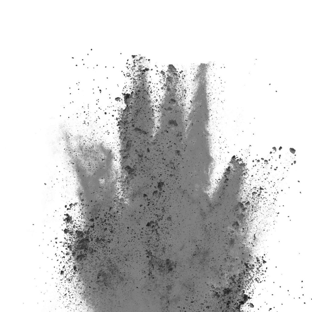 Gray or silver powder
