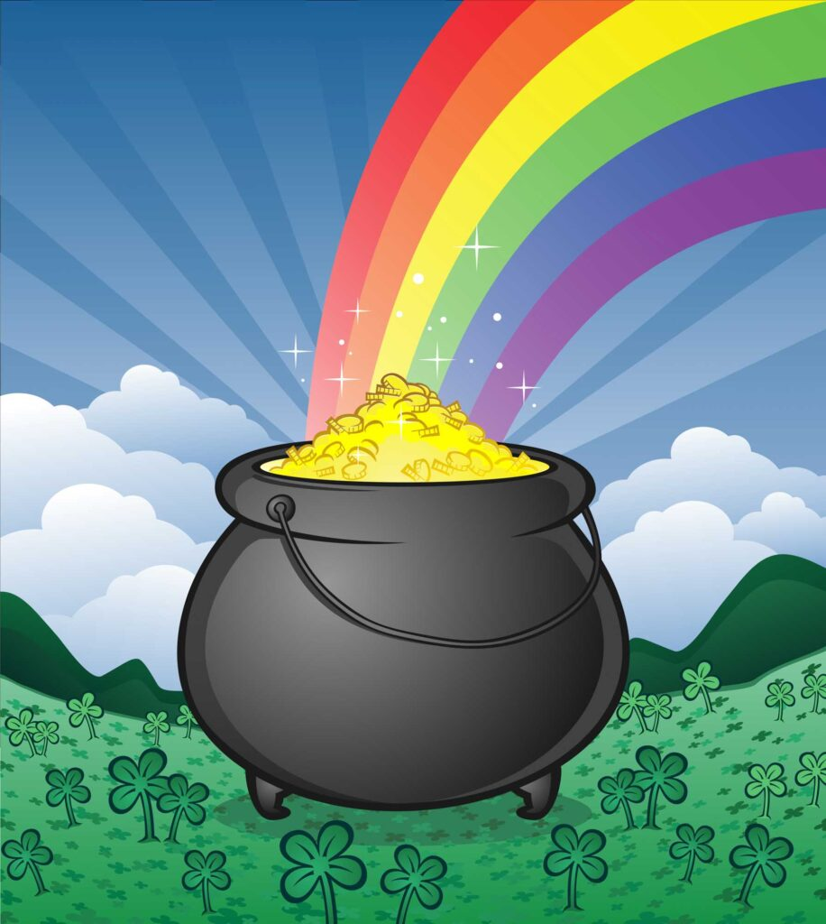 Irish pot of gold and rainbow colors