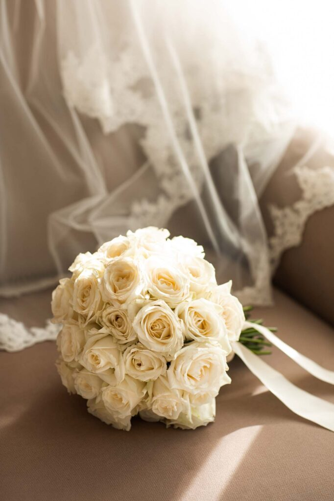 A wedding bouquet of ivory roses