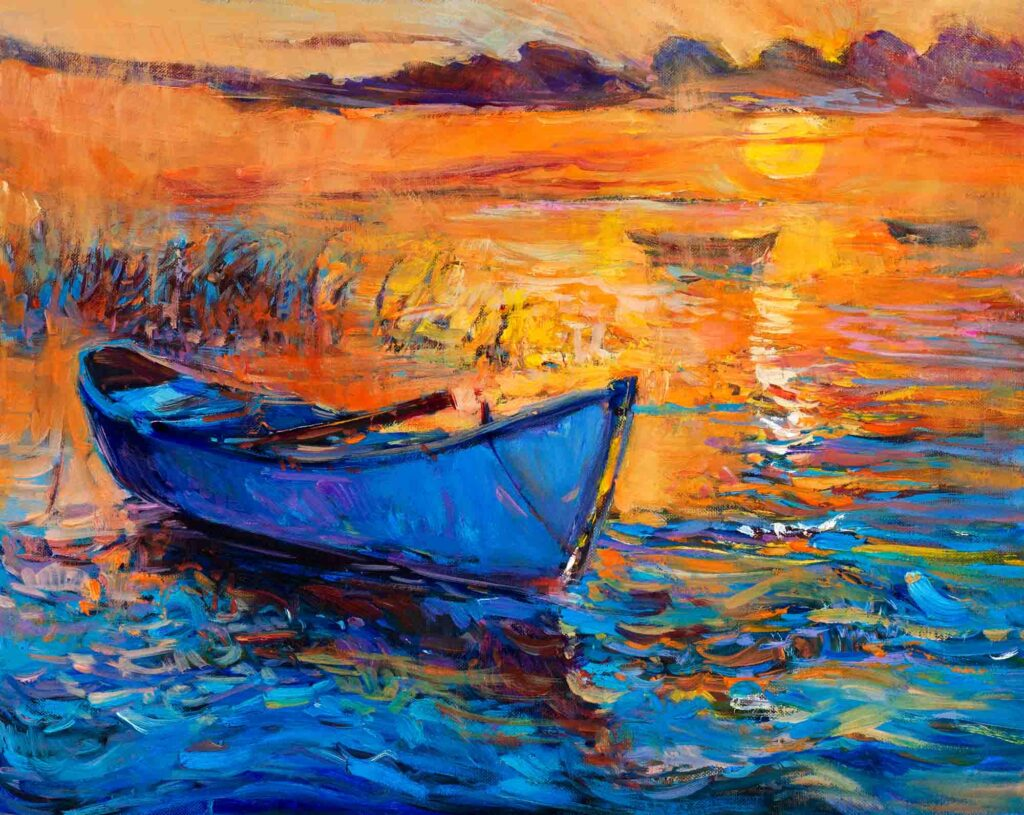 Blue boat on an orange and yellow sunset painting