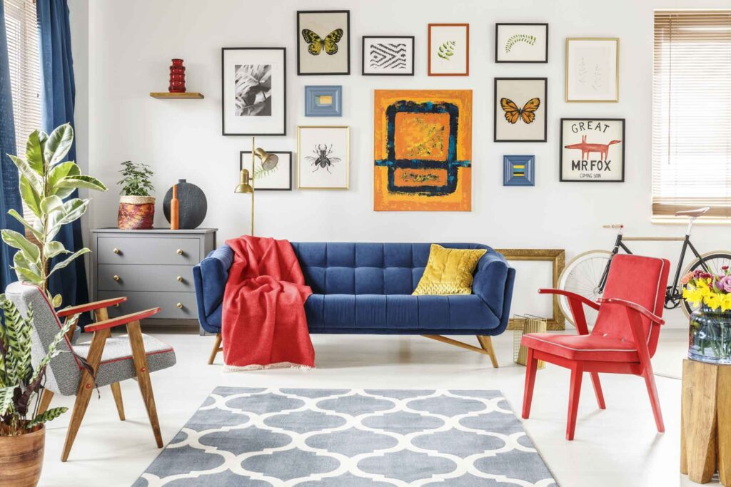 Blue, red, and yellow living room