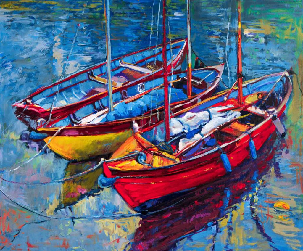 Blue, yellow, and red painting of boats