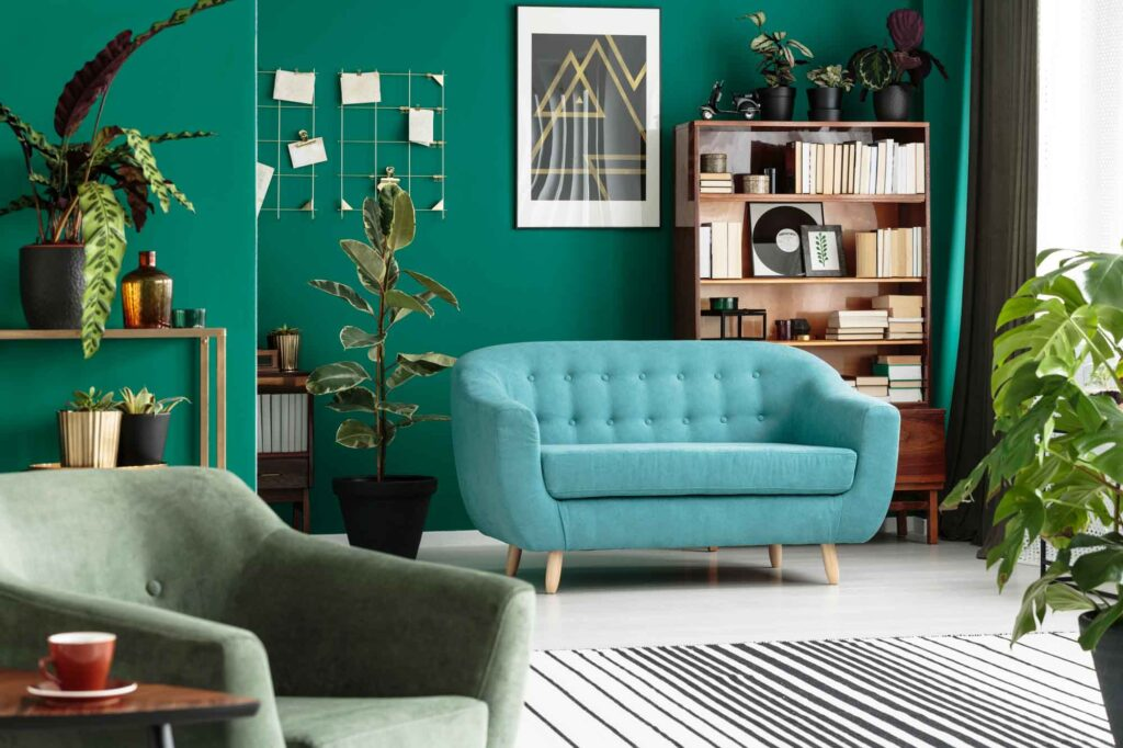 Blue and green living room, great example of analogous colors
