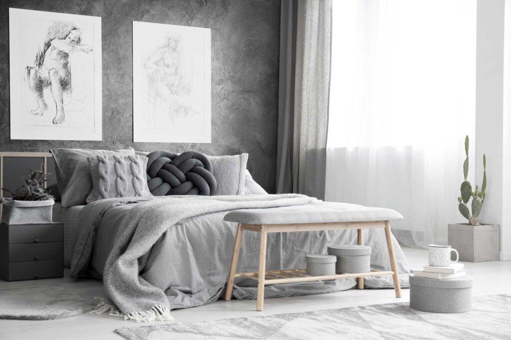 Monochromatic gray bedroom