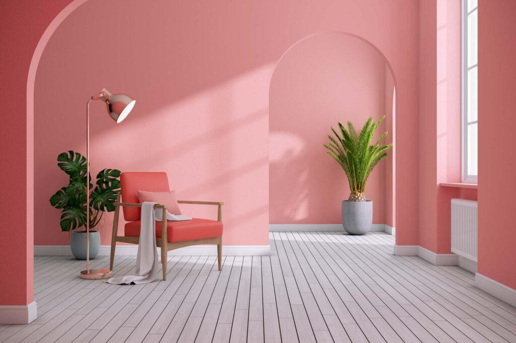 Monochromatic pink living room