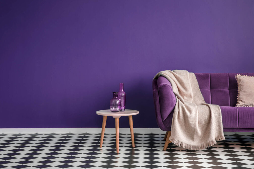 Monochromatic purple living room