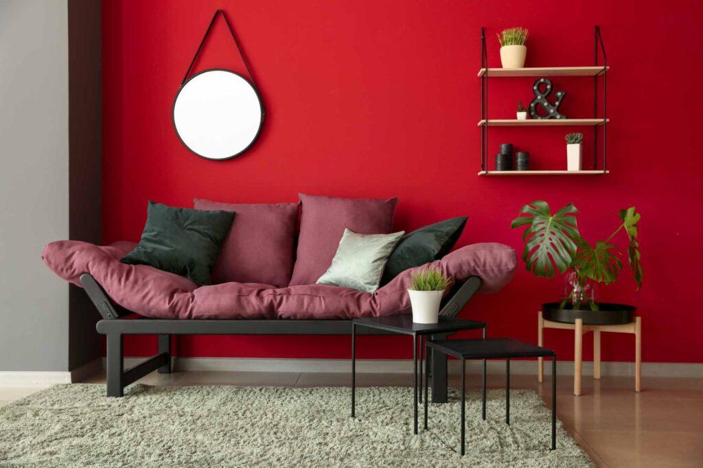 Monochromatic red living room