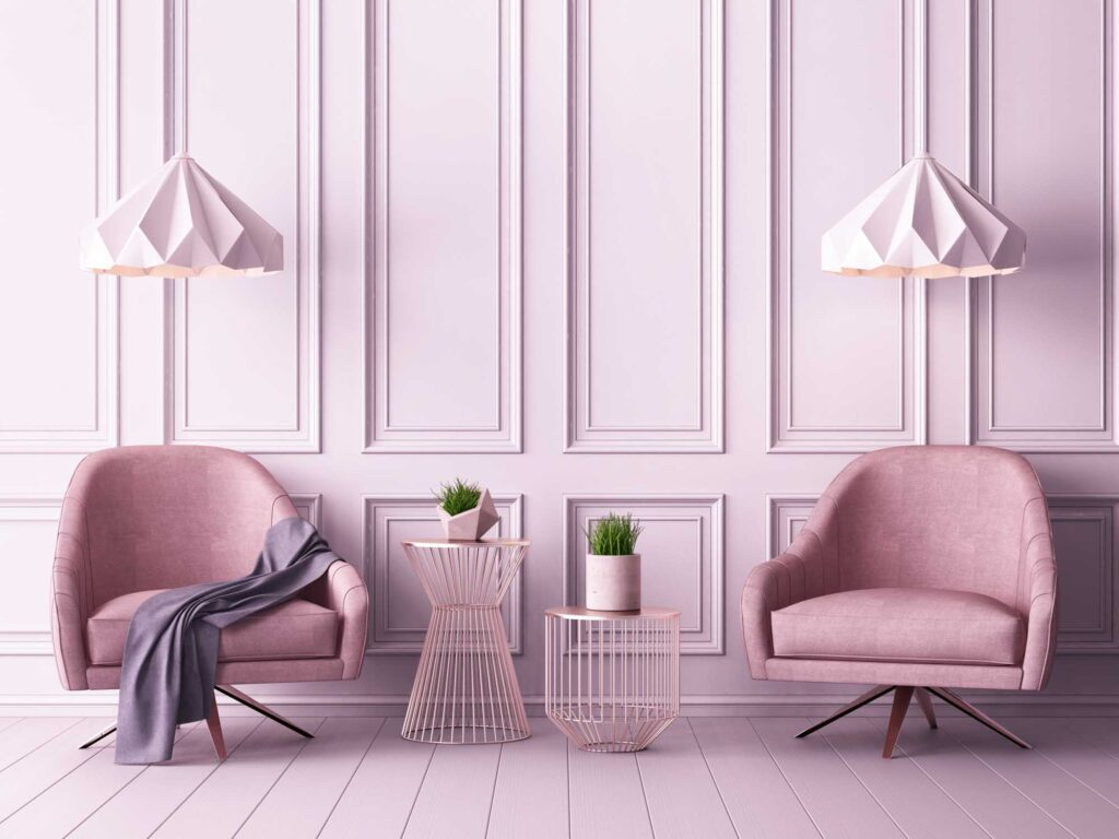 Classy living room wall painted in pink, one of the best colors that are relaxing