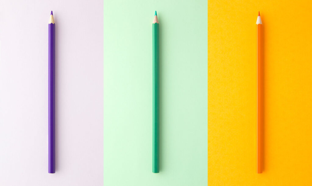 Purple, green, and orange pencils are great examples of triadic colors