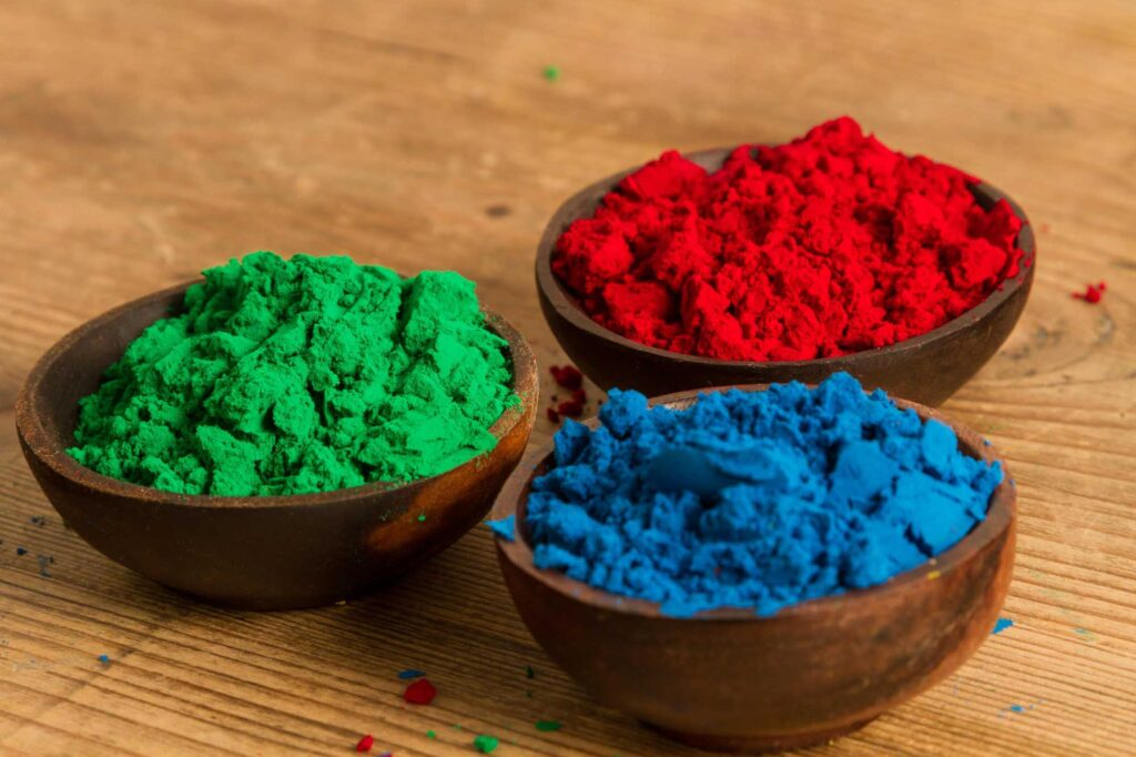Red, green, and blue powder are great examples of triadic colors