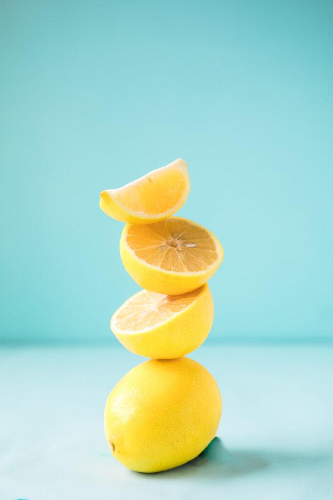 Yellow lemons on blue background
