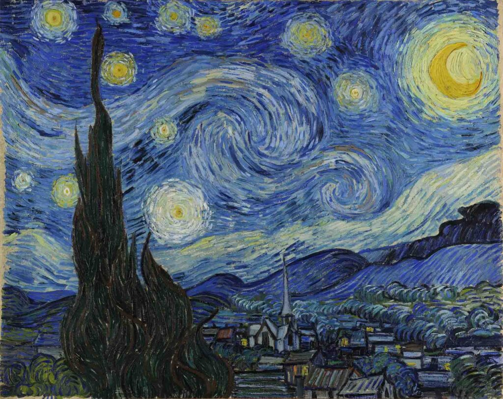 Van Gogh's painting Starry Night uses complementary colors