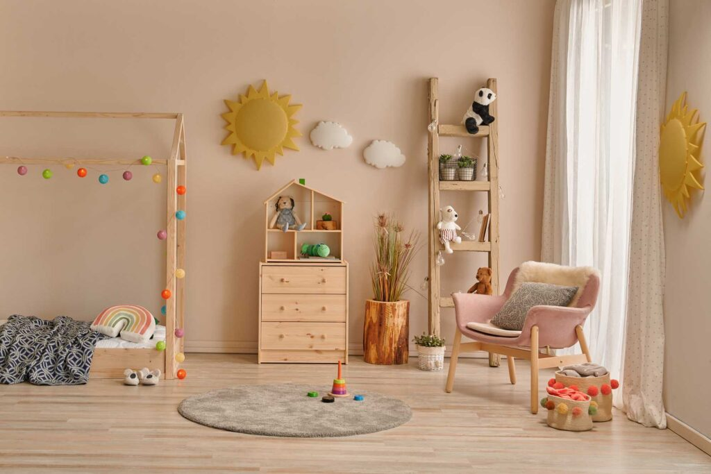Children bedroom wall painted in tan, beige, a relaxing color