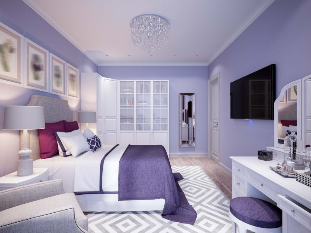 Violet and purple bedroom walls, very relaxing colors
