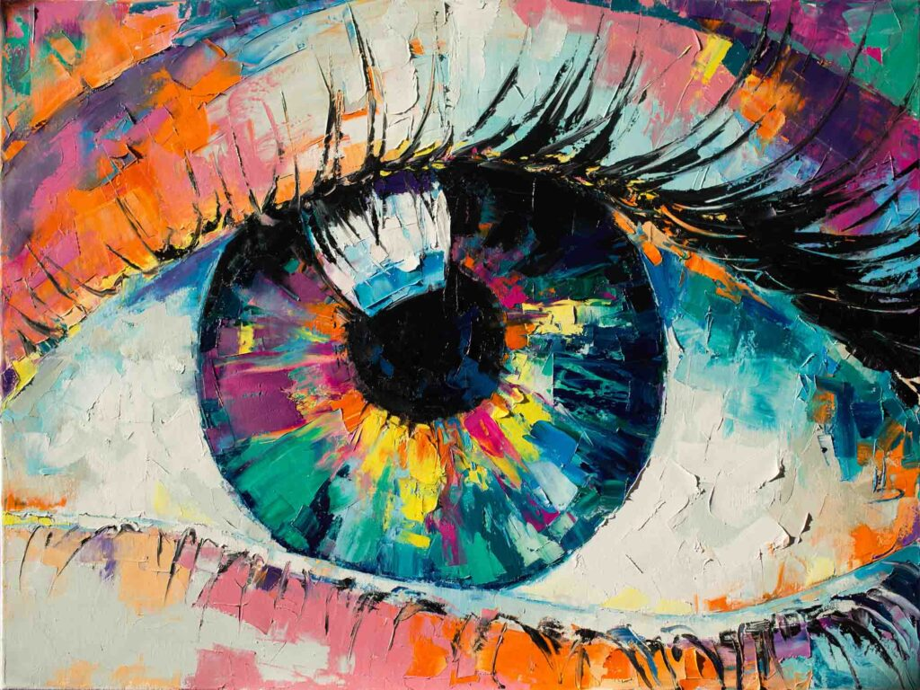 Painting of a colorful eye