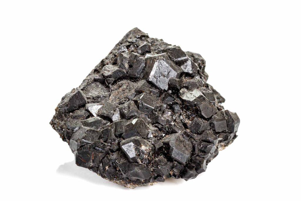 Black melanite gemstone