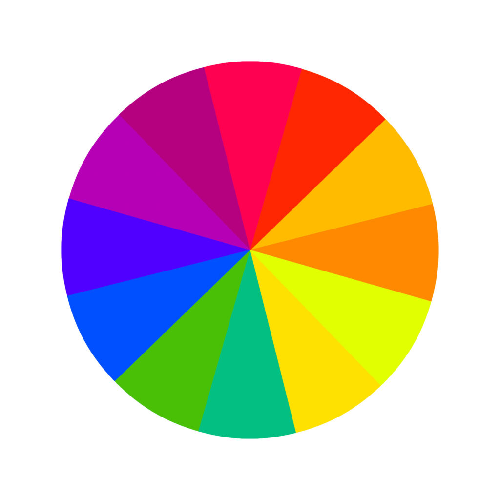Warm and cool colors in a wheel