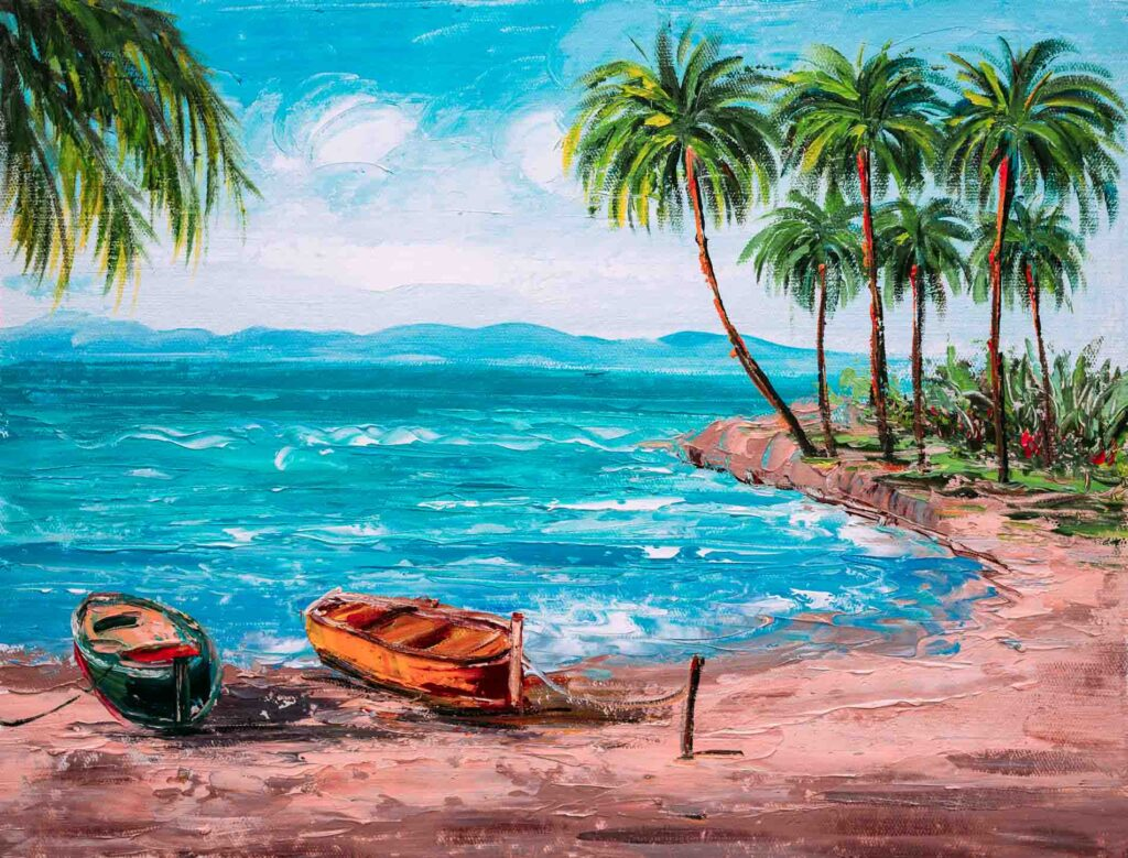 Painting warm day beach